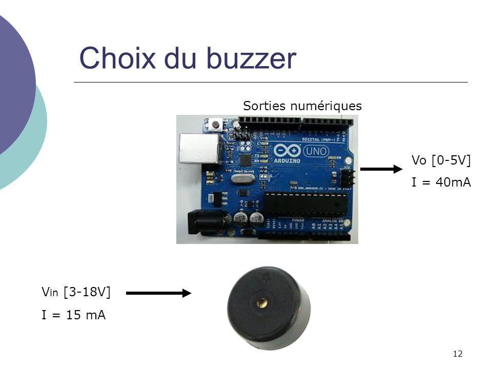 Choix du buzzer Sorties numériques Vo [0-5V] I = 40mA Vin [3-18V]